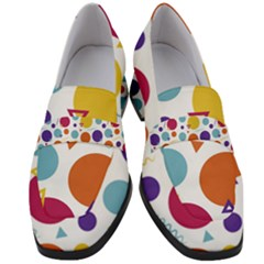 Background Polka Dot Women s Chunky Heel Loafers
