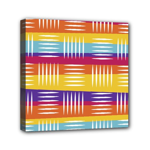 Background Line Rainbow Mini Canvas 6  x 6  (Stretched)