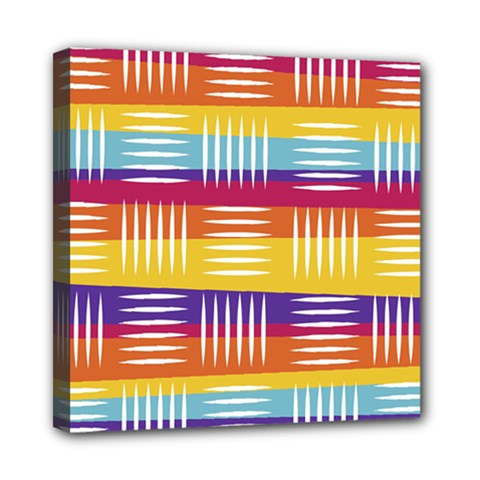 Background Line Rainbow Mini Canvas 8  x 8  (Stretched)