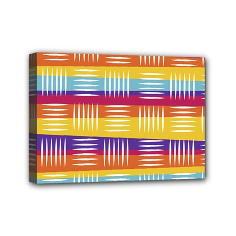 Background Line Rainbow Mini Canvas 7  x 5  (Stretched)