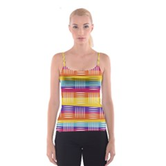 Background Line Rainbow Spaghetti Strap Top