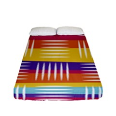 Background Line Rainbow Fitted Sheet (Full/ Double Size)