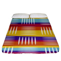 Background Line Rainbow Fitted Sheet (King Size)