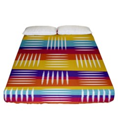 Background Line Rainbow Fitted Sheet (California King Size)