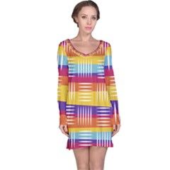 Background Line Rainbow Long Sleeve Nightdress by HermanTelo