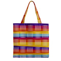 Background Line Rainbow Zipper Grocery Tote Bag