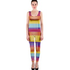 Background Line Rainbow One Piece Catsuit