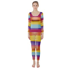Background Line Rainbow Long Sleeve Catsuit