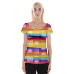 Background Line Rainbow Cap Sleeve Top
