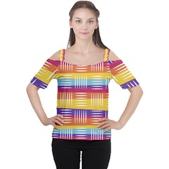 Background Line Rainbow Cutout Shoulder Tee by HermanTelo