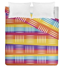 Background Line Rainbow Duvet Cover Double Side (Queen Size)