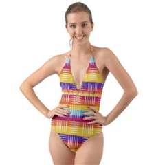 Background Line Rainbow Halter Cut-Out One Piece Swimsuit
