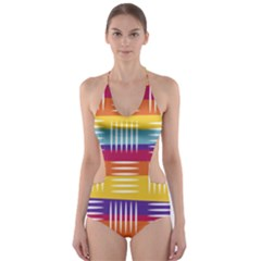 Background Line Rainbow Cut-Out One Piece Swimsuit