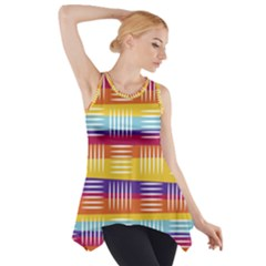 Background Line Rainbow Side Drop Tank Tunic