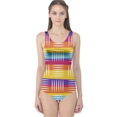 Background Line Rainbow One Piece Swimsuit