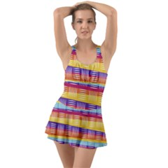 Background Line Rainbow Ruffle Top Dress Swimsuit