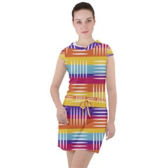 Background Line Rainbow Drawstring Hooded Dress