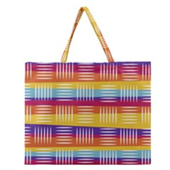 Background Line Rainbow Zipper Large Tote Bag