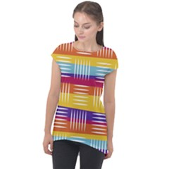 Background Line Rainbow Cap Sleeve High Low Top