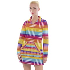 Background Line Rainbow Women s Long Sleeve Casual Dress