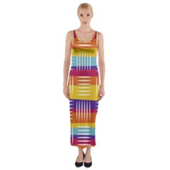 Background Line Rainbow Fitted Maxi Dress