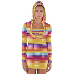 Background Line Rainbow Long Sleeve Hooded T-shirt