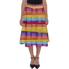 Background Line Rainbow Perfect Length Midi Skirt