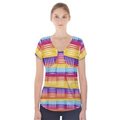 Background Line Rainbow Short Sleeve Front Detail Top