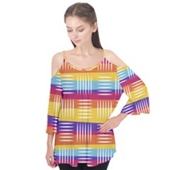Background Line Rainbow Flutter Tees
