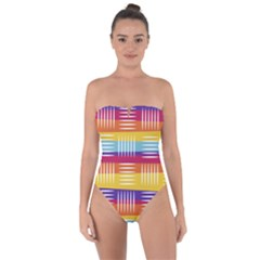 Background Line Rainbow Tie Back One Piece Swimsuit
