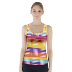 Background Line Rainbow Racer Back Sports Top