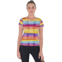 Background Line Rainbow Short Sleeve Sports Top