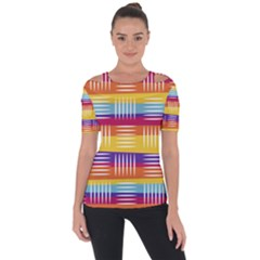 Background Line Rainbow Shoulder Cut Out Short Sleeve Top