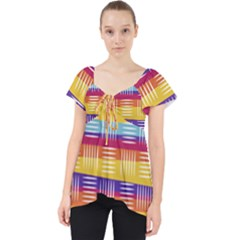 Background Line Rainbow Lace Front Dolly Top