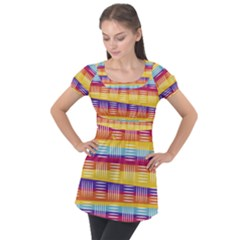 Background Line Rainbow Puff Sleeve Tunic Top