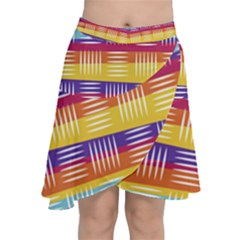 Background Line Rainbow Chiffon Wrap Front Skirt