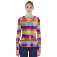 Background Line Rainbow V-Neck Long Sleeve Top
