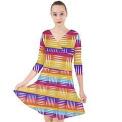 Background Line Rainbow Quarter Sleeve Front Wrap Dress