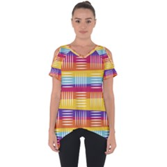 Background Line Rainbow Cut Out Side Drop Tee