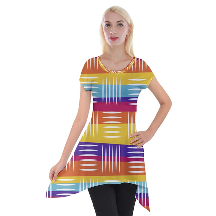 Background Line Rainbow Short Sleeve Side Drop Tunic