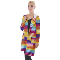 Background Line Rainbow Hooded Pocket Cardigan
