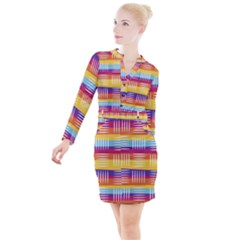 Background Line Rainbow Button Long Sleeve Dress