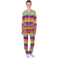 Background Line Rainbow Casual Jacket and Pants Set