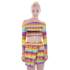 Background Line Rainbow Off Shoulder Top with Mini Skirt Set