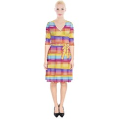 Background Line Rainbow Wrap Up Cocktail Dress