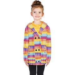 Background Line Rainbow Kids  Double Breasted Button Coat