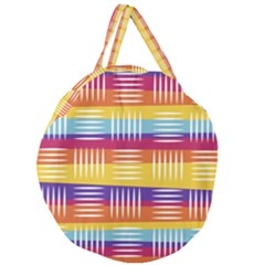 Background Line Rainbow Giant Round Zipper Tote