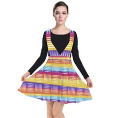 Background Line Rainbow Plunge Pinafore Dress