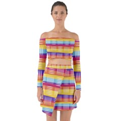 Background Line Rainbow Off Shoulder Top with Skirt Set