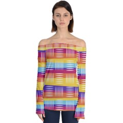 Background Line Rainbow Off Shoulder Long Sleeve Top